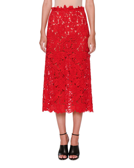Guipure-Lace A-Line Midi Skirt, Red