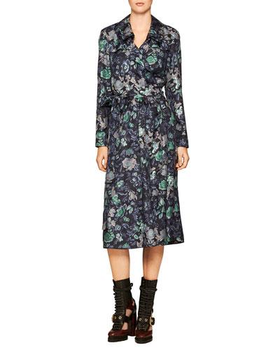Floral-Print Silk Robe Dress