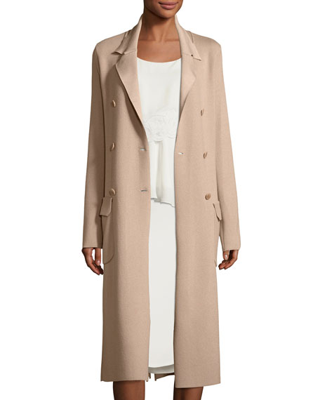 Double-Breasted Long Trench Coat, Sand