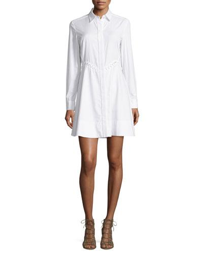 Laced-Waist Long-Sleeve A-Line Shirtdress, Bleach