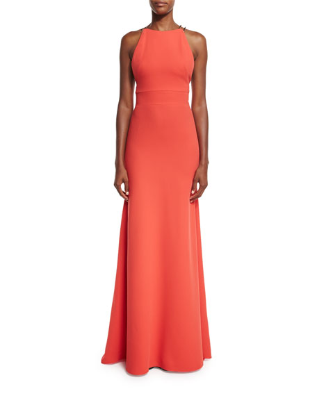 Ruffled-Back Sleeveless Mermaid Gown, Coral