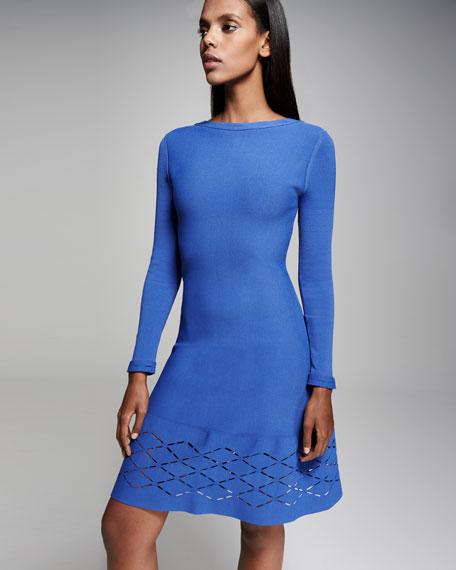 Diamond Laser-Cut Long-Sleeve Dress, Lapis