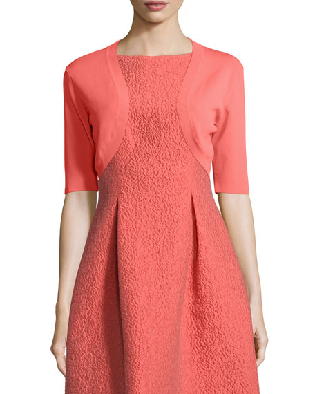 Lela Rose Half-Sleeve Cropped Shrug, Coral