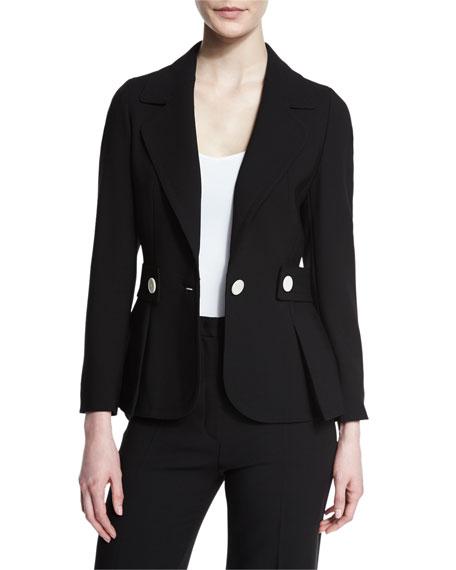 Tab-Waist One-Button Jacket, Black