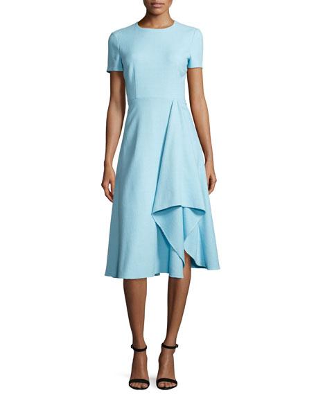 Raffia Tweed Short-Sleeve Dress, Cerulean