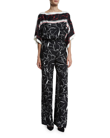 Escada Floral Kimono-Sleeve Belted Jumpsuit, Fantasy