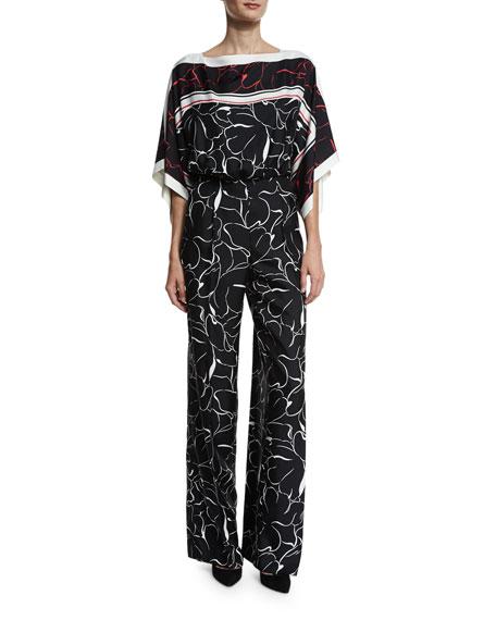 Escada Floral Kimono-Sleeve Belted Jumpsuit, Fantasy