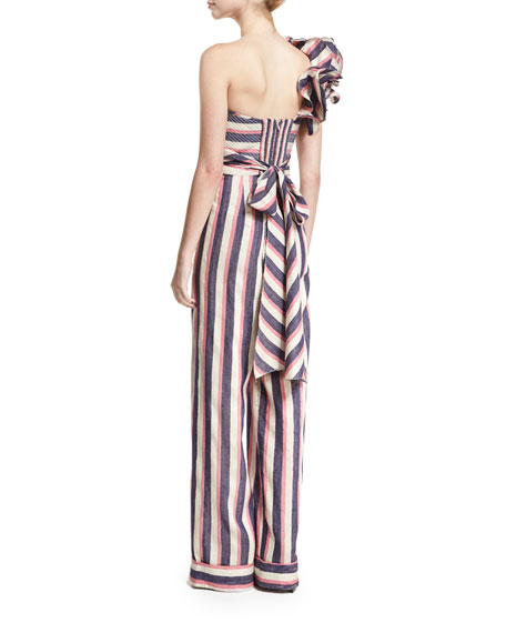 Bahama Striped Floral-Shoulder Jumpsuit, Blue/Pink/White