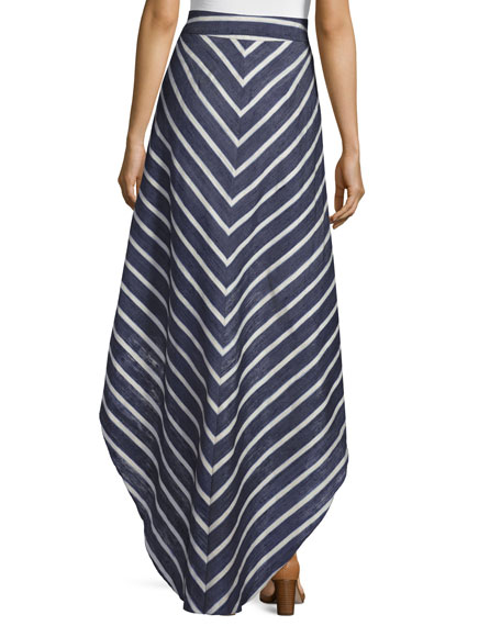 Ruffled Striped Pareo Skirt, Blue/White