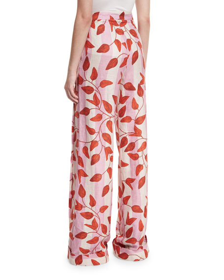 Colorado High-Waist Leaf-Print Trousers, Red/Pink