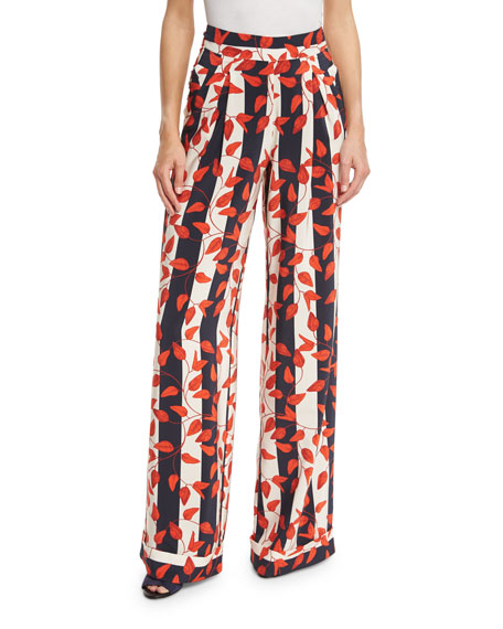 Johanna Ortiz Curacao High-Waist Striped Trousers, Red/White/Blue