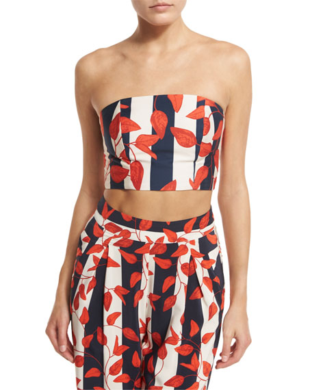Dominica Leaf-Print Bandeau Top & Belt, Red/White/Blue
