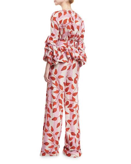 Yoko Leaf-Print Belted Blouse, Red/Pink