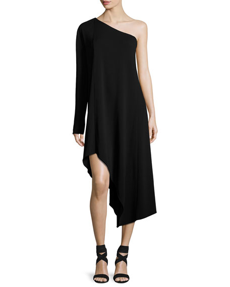 Narciso Rodriguez Asymmetric One-Shoulder Long-Sleeve Dress, Black