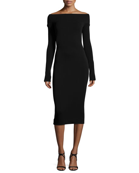 Off-the-Shoulder Long-Sleeve Sheath Dress, Black