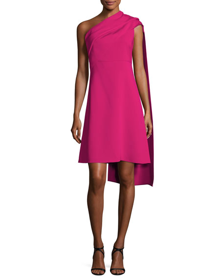 Draped One-Shoulder Dress, Fuchsia