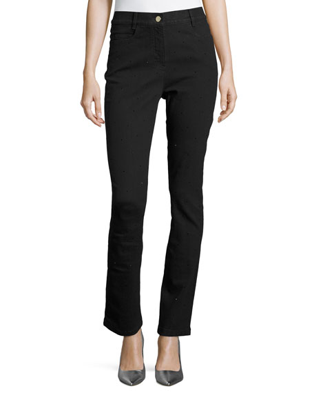 Escada Crystal High-Waist Ankle Jeans, Black