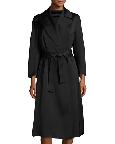 Eve Bracelet-Sleeve Opera Coat, Black
