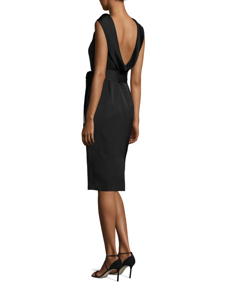 Eve Sleeveless Scoop-Back Dress, Black