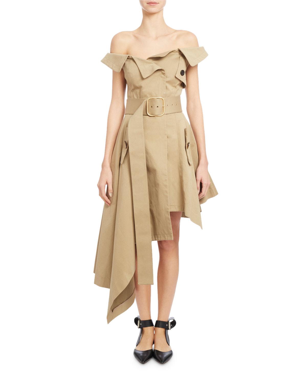 cce19ddd62f3 Monse Off-the-Shoulder Belted Asymmetric Dress