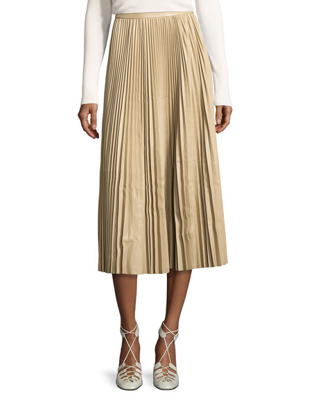 Locle Pleated Leather Midi Skirt, Khaki