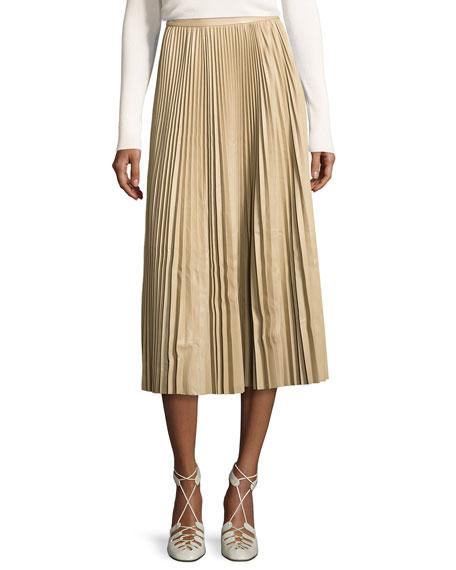 Locle Pleated Leather Midi Skirt, Khaki