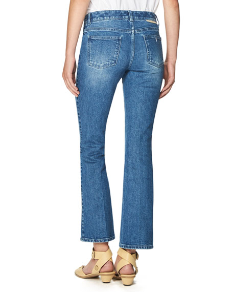 Palm-Embroidered Skinny Kick Jeans, Blue