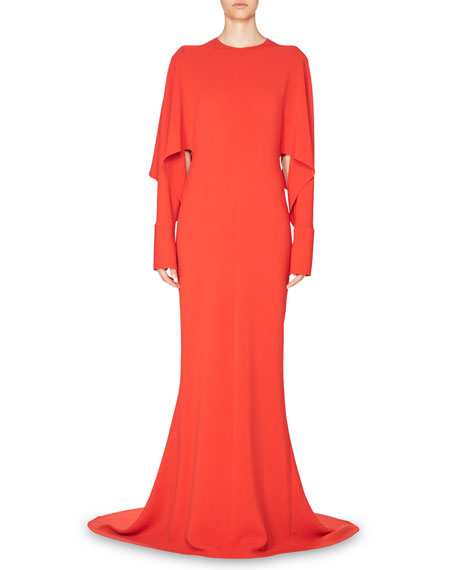 Draped-Sleeve Cady Gown