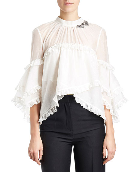 Ruffled Crystal 3/4-Sleeve Blouse, White