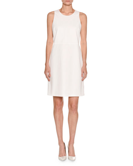Sleeveless Piqué A-Line Dress, White