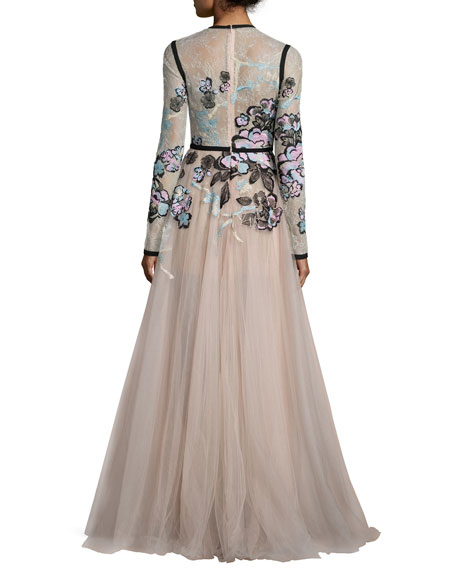 Floral-Embroidered Long-Sleeve Gown, Blush/Multi