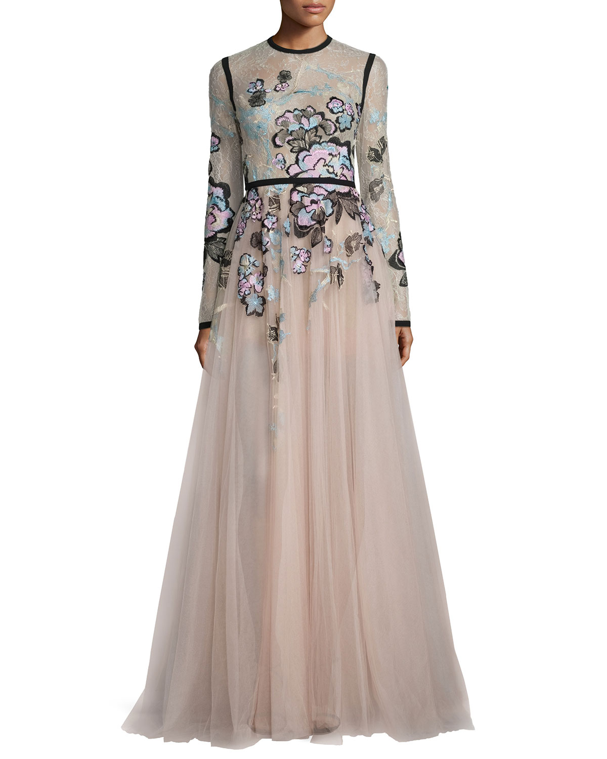 a8222e89a18 Elie Saab Floral-Embroidered Long-Sleeve Gown