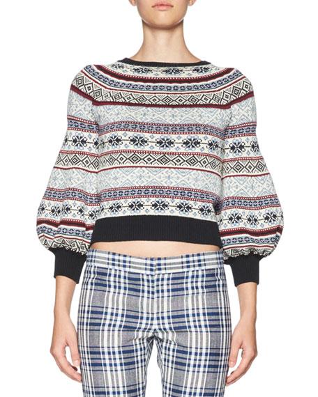 Alexander McQueen Fair Isle Bell-Sleeve Sweater, Multi