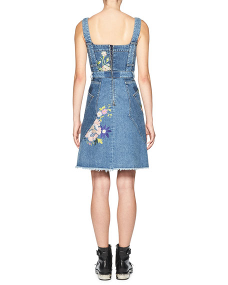 Floral-Embroidered Denim Dress, Blue