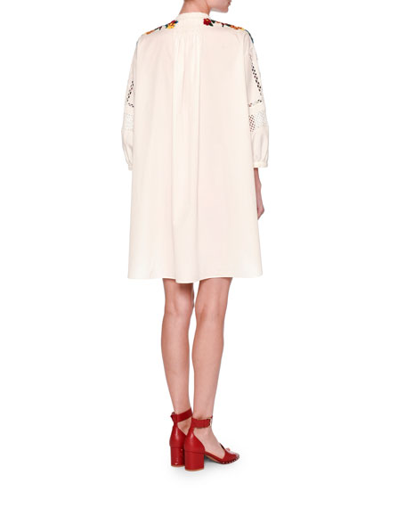 Embroidered Bishop-Sleeve Tunic Dress, White