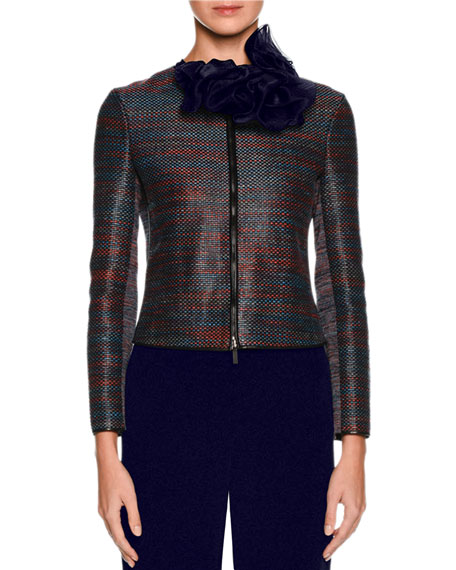 Woven Leather Zip Jacket, Multi Reviews