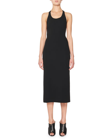 TOM FORD Tank Dress w/Leather Racerback, Black