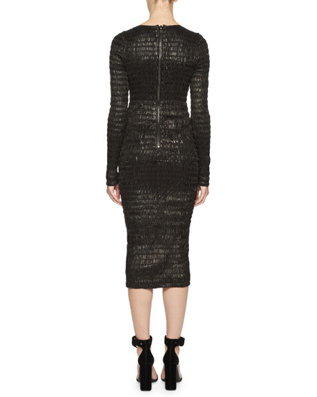 Shirred Leather Sheath Dress, Black