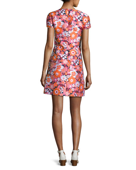 Medium Spring Floral Jacquard Short-Sleeve Dress, Pink/Multi