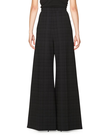 Plaid High-Waist Wide-Leg Pants, Black