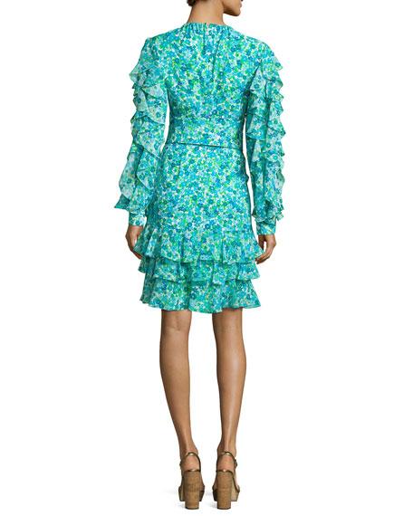 Ruffled Floral Keyhole Dress, Turquoise