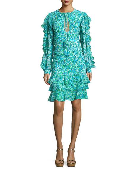 Michael Kors Collection Ruffled Floral Keyhole Dress, Turquoise