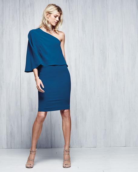 Flutter One-Shoulder Popover Dress, Blue