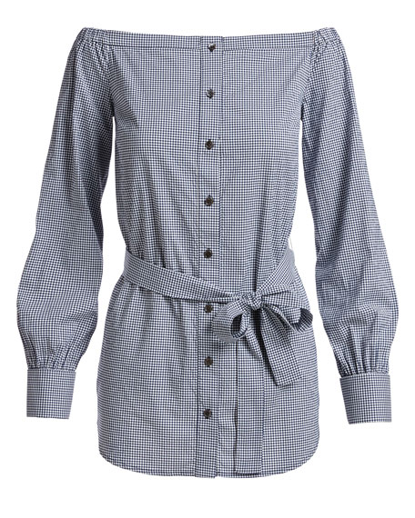 Gingham Off-the-Shoulder Belted Tunic
