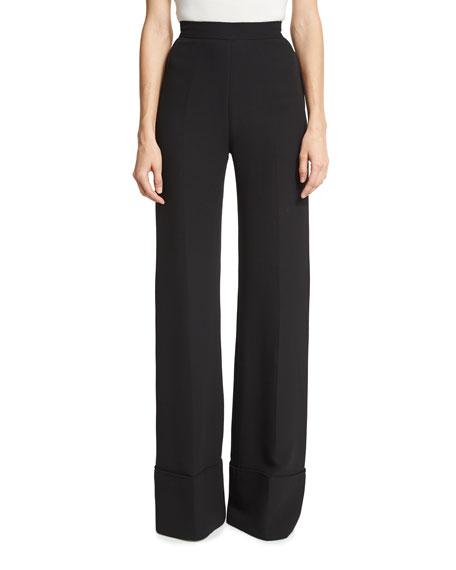 Brandon Maxwell High-Waist Wide-Cuff Pants, Black