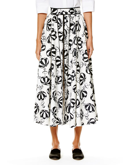 Carolina Herrera Café Umbrella Midi Skirt, Black/White