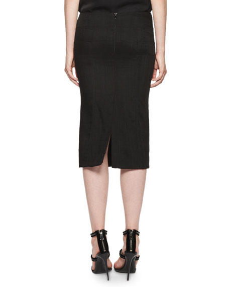 Basketweave Pencil Midi Skirt,