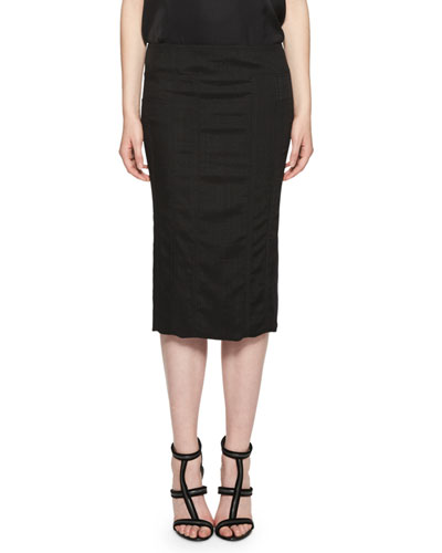 Basketweave Pencil Midi Skirt,