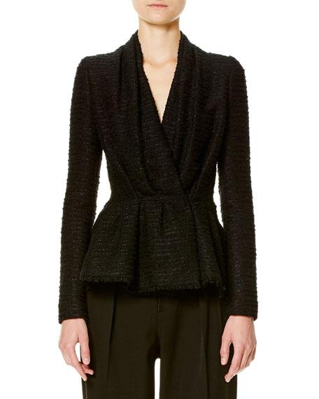 Carolina Herrera Tweed Gathered-Front Jacket, Black