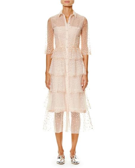 Carolina Herrera Embroidered Tulle 3 4 Sleeve Trench Dress